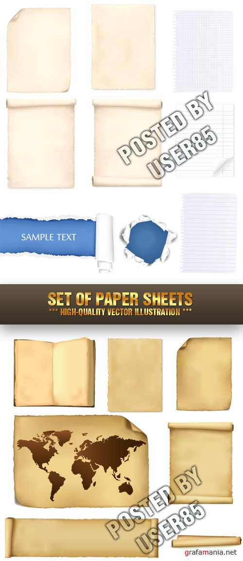 Stock Vector - Set of Paper Sheets