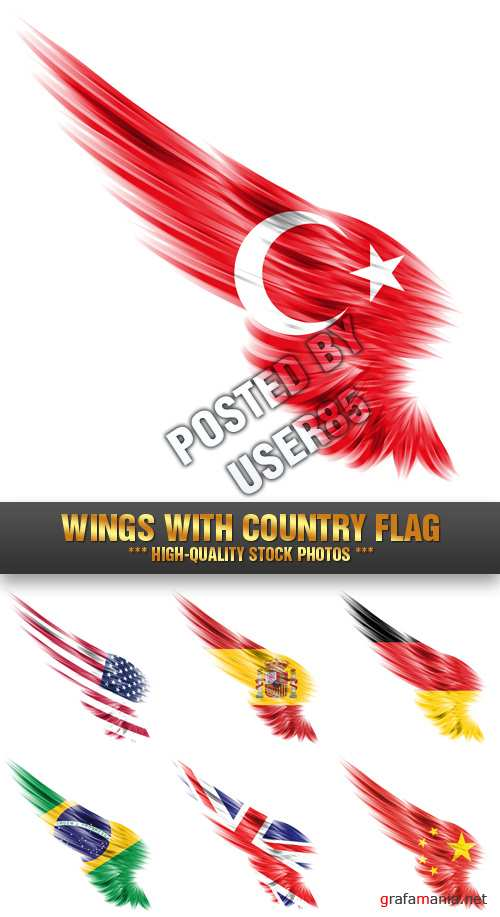 Stock Photo - Wings with Country Flag
