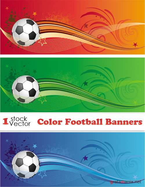 Color Football Banners Vector
