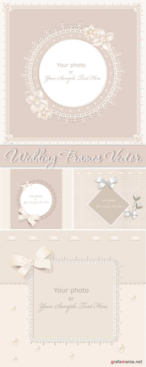 Sweet Wedding Frames Vector