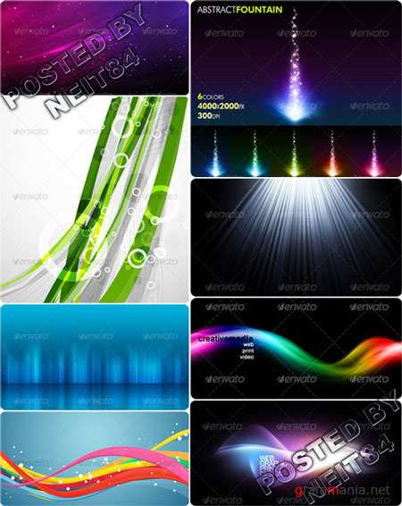 Graphicriver Abstract fountain design colorful waves background for Website