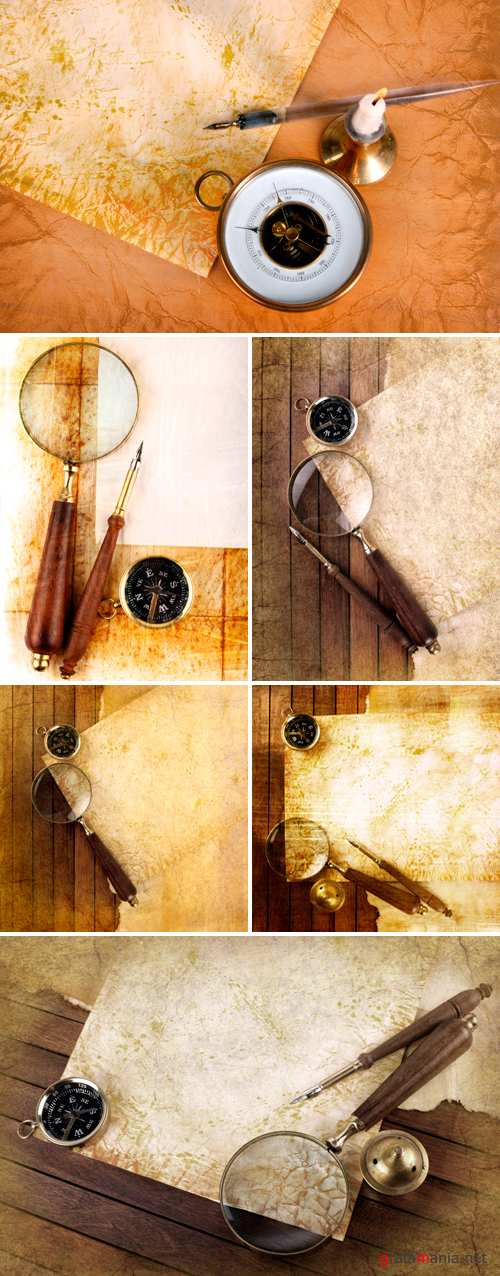 Stock Photo - Vintage Backgrounds with Compass 2 | ��������� ���� � ��������