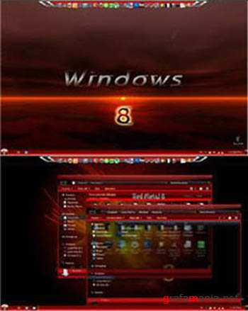 Win 8 Red Metal Glass Theme for Windows