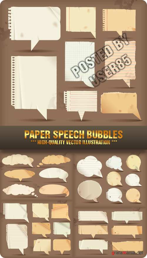 Stock Vector - Paper Speech Bubbles