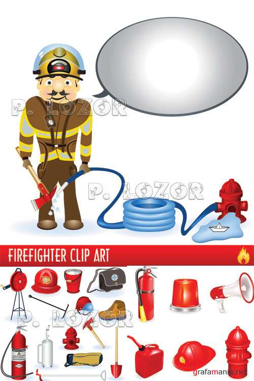 Firefighter vector cliparts