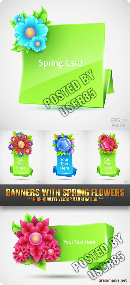 Stock Vector - Banners with Spring Flowers
