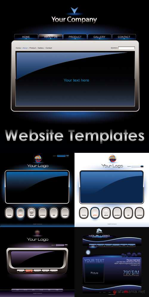 Blue Website Templates Vector | Синие шаблоны для вебсайта