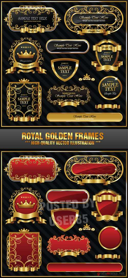 Stock Vector - Royal Golden Frames