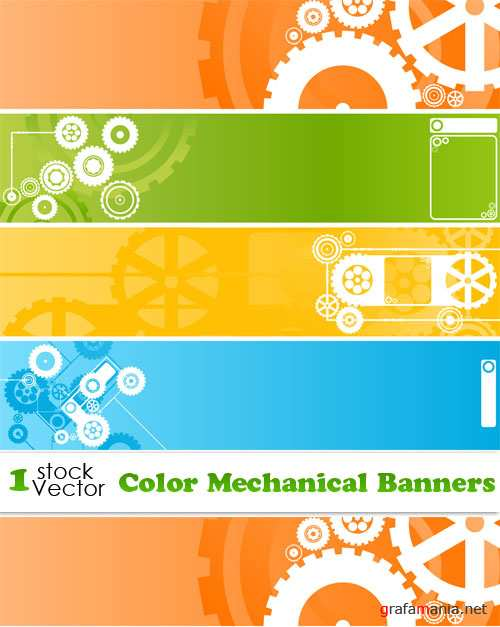 Color Mechanical Banners Vector