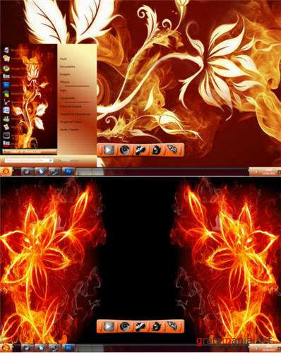 Fire Flower Full Glass Theme for Windows 7
