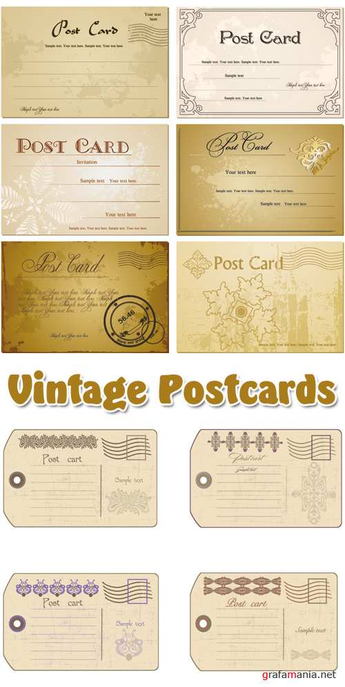Vintage Postcards Vector 2