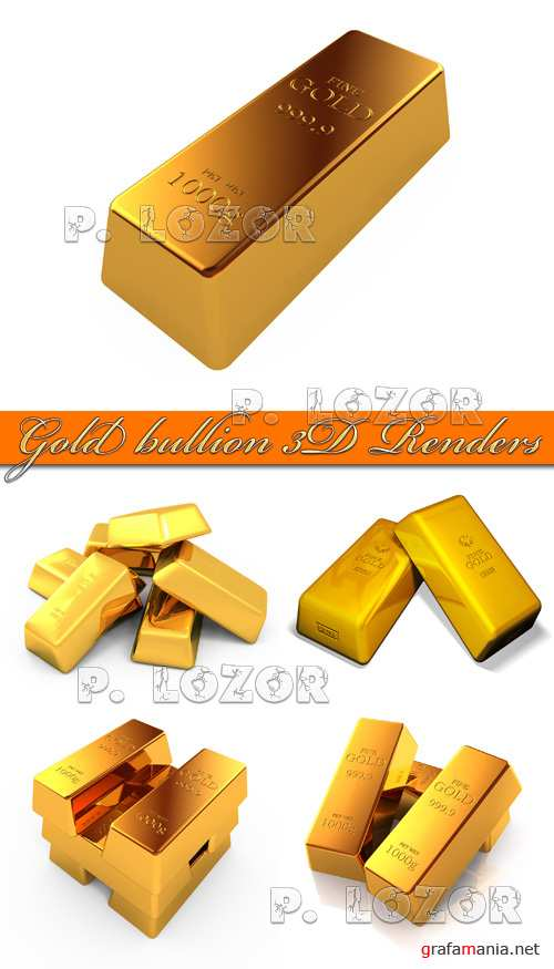 Gold bullion 3D Renders