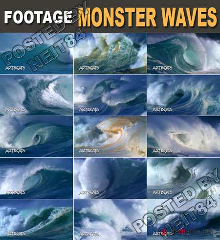 Footage Nature Monster Waves HD 1080
