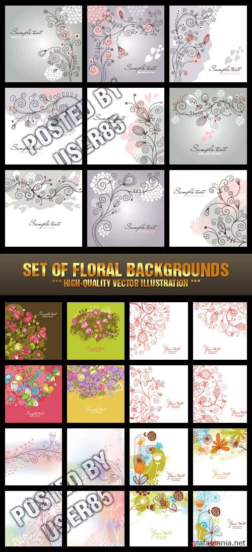 Stock Vector - Set of Floral Backgrounds