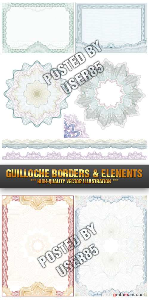 Stock Vector - Guilloche Borders & Elenents