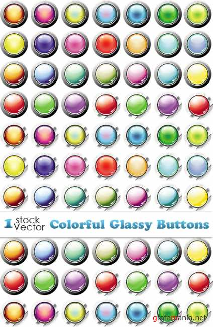 Colorful Glassy Buttons Vector