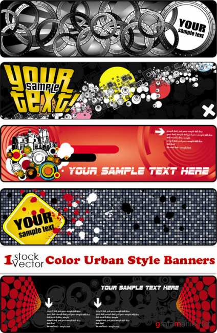 Color Urban Style Banners Vector