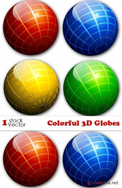 Colorful 3D Globes Vector