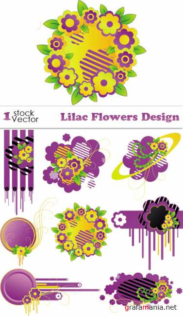 Lilac Flowers Design Vector