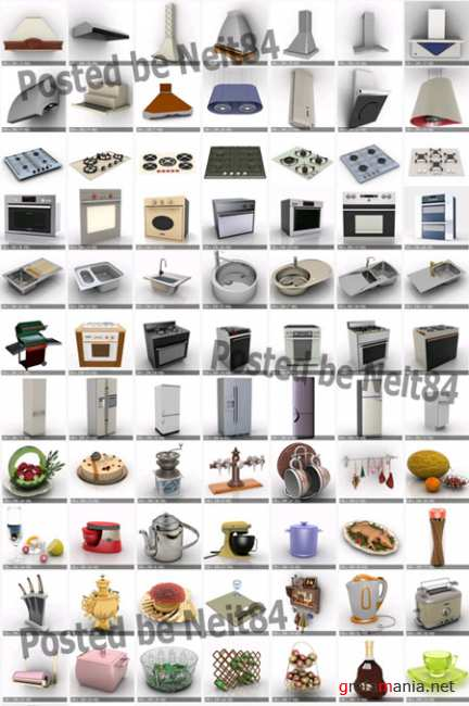 3D models Kitchen Furniture Appliances Utensils and Accessories