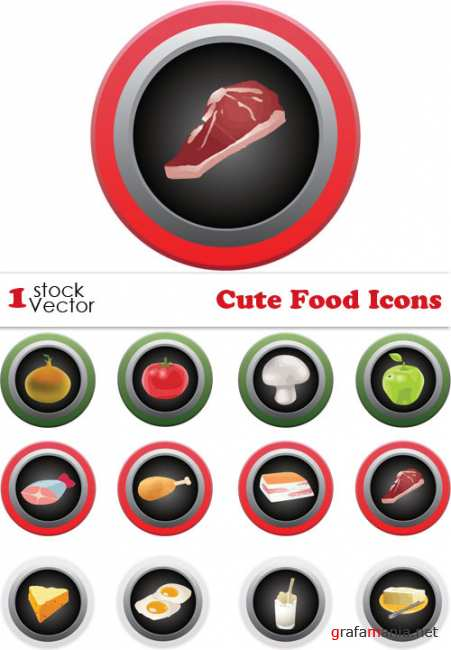 Cute Food Icons Vector