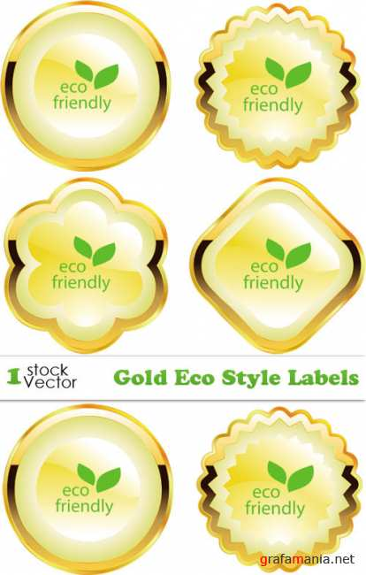 Gold Eco Style Labels Vector