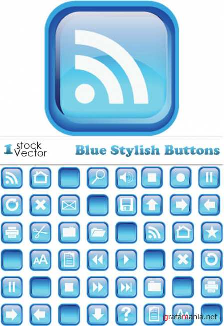 Blue Stylish Buttons Vector