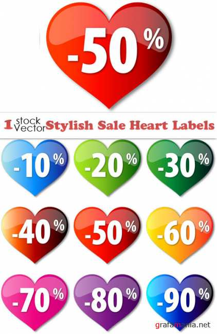 Stylish Sale Heart Labels Vector