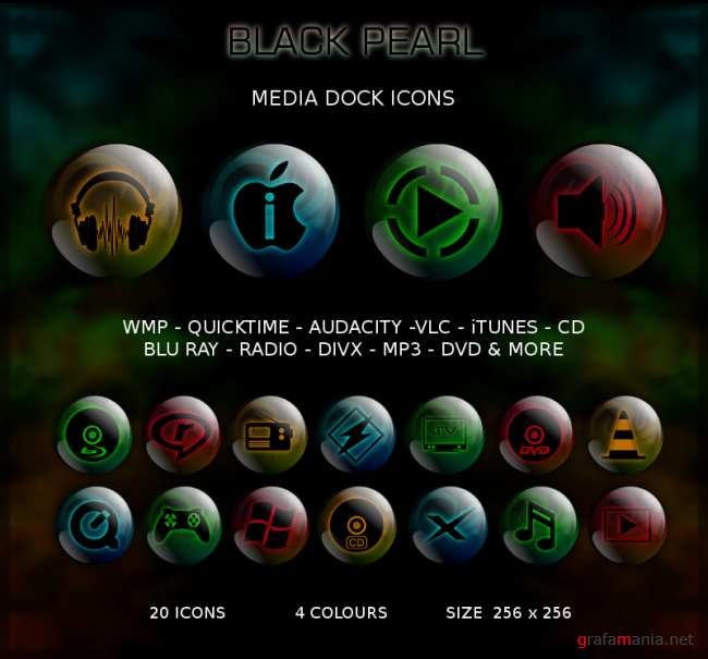 Black Pearl Media Icons