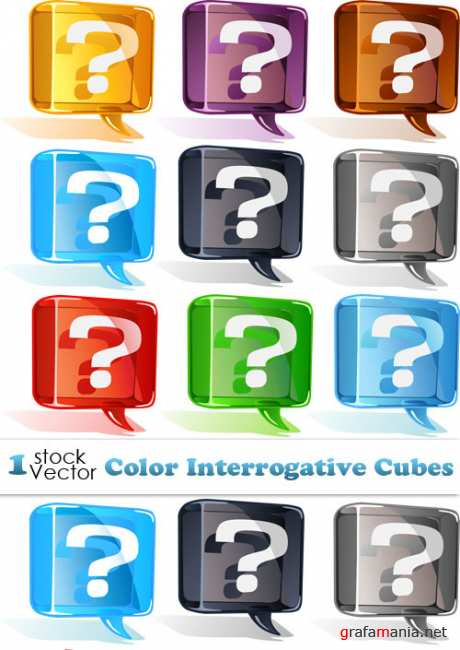 Color Interrogative Cubes Vector