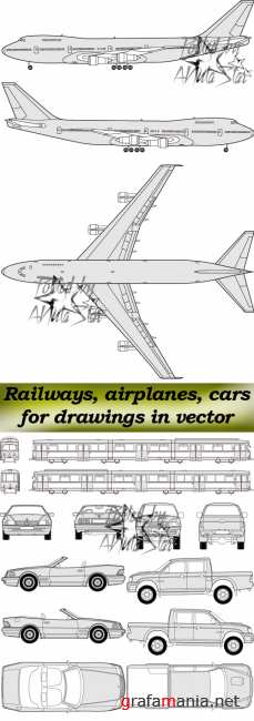 ��������������� ���������, �������, ���������� ��� �������� � �������  Railways, airplanes, cars for drawings in vector