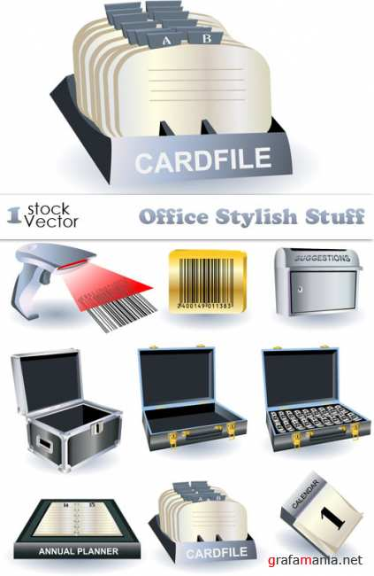 Office Stylish Stuff Vector