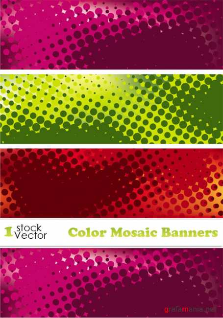Color Mosaic Banners Vector