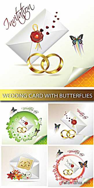 Stock Vector - Wedding card with butterflies
