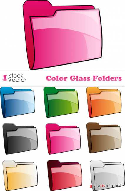 Color Glass Folders Vector