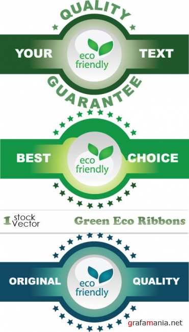Green Eco Ribbons Vector