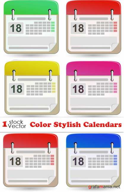 Color Stylish Calendars Vector