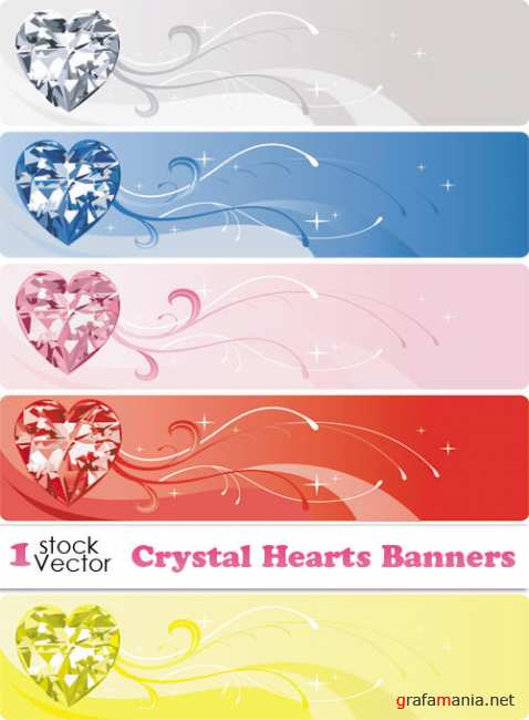 Crystal Hearts Banners Vector