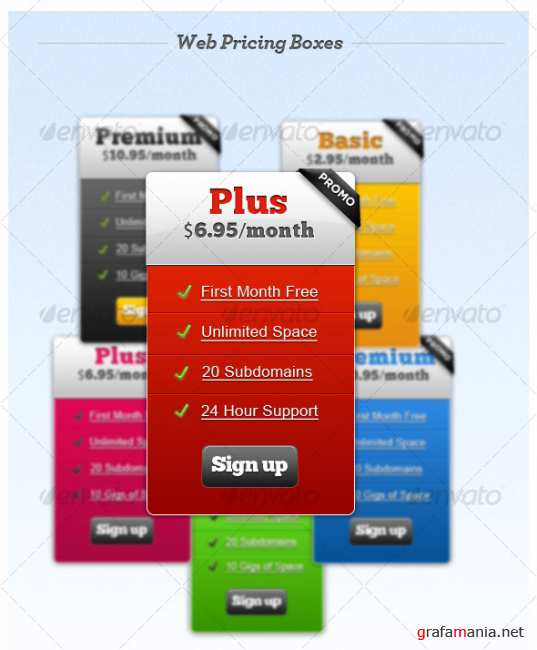 Web Hosting Pricing Tables + Premium Buttons - GraphicRiver