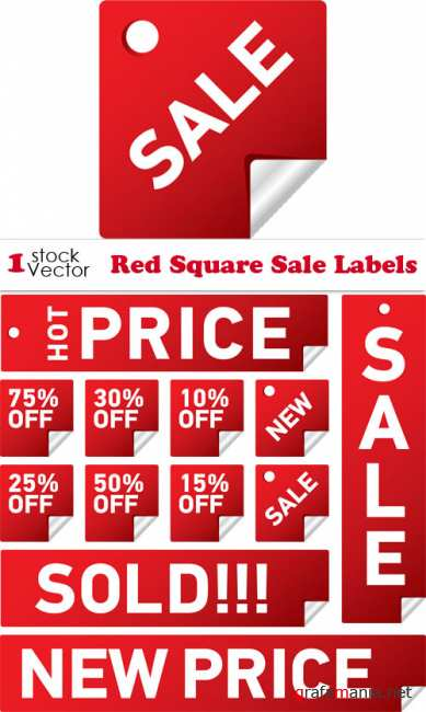 Red Square Sale Labels Vector