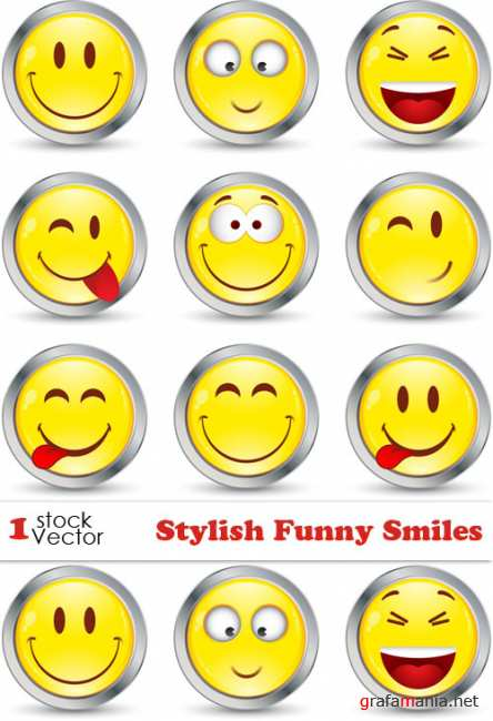 Stylish Funny Smiles Vector