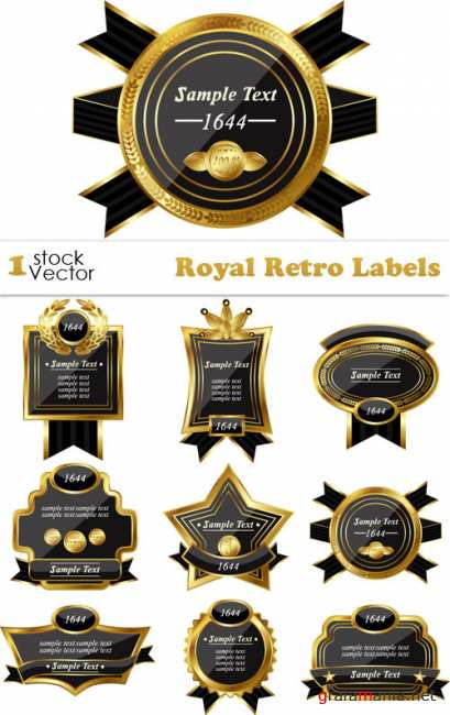 Royal Retro Labels Vector