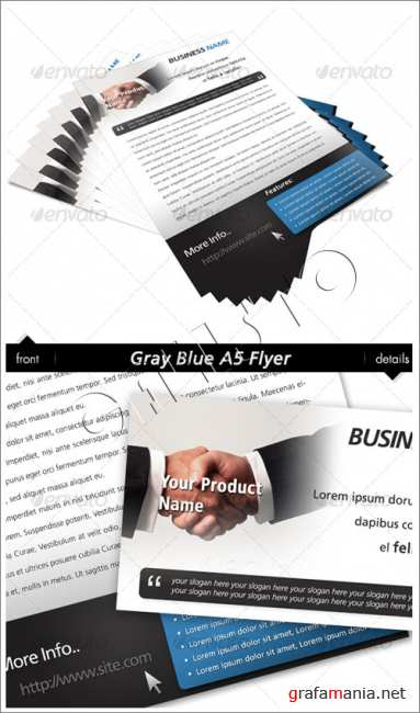 Gray Blue A5 Flyer - GraphicRiver