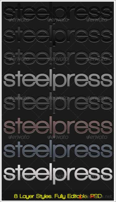 Steelpress - Unique Photoshop Styles/Text - GraphicRiver