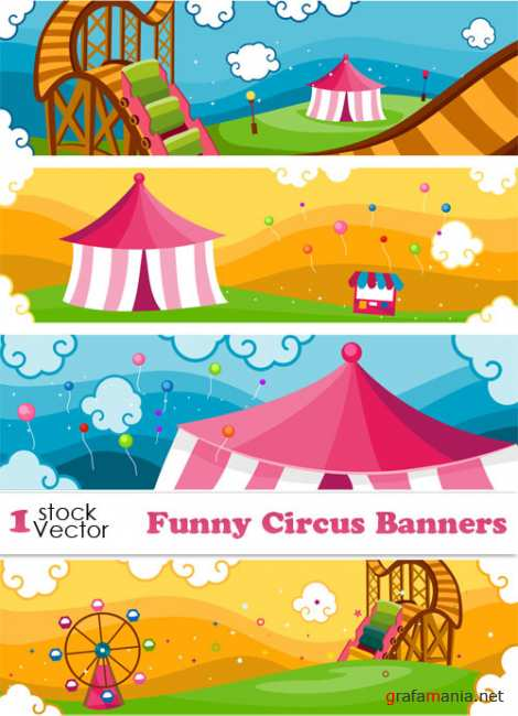 Funny Circus Banners Vector