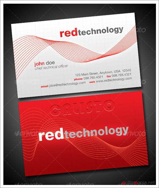 Red Technology Business Card - GraphicRiver
