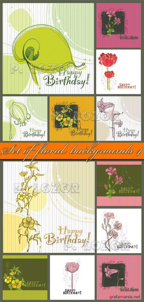 Set of floral backgrounds 4