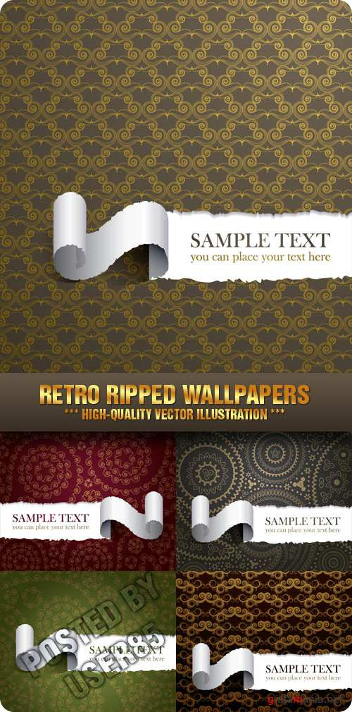 Stock Vector - Retro Ripped Wallpapers