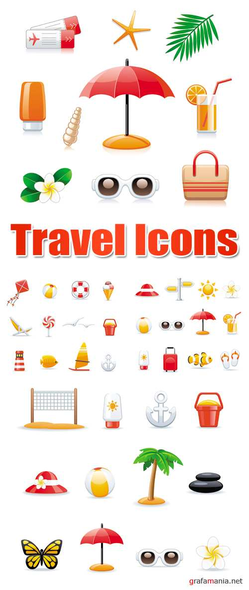 Travel & Tropical Resort Icons Vector