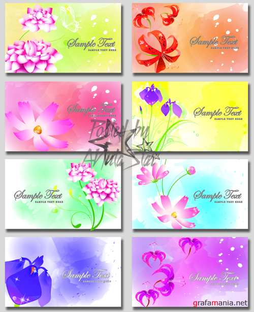 Визитки с цветами в PSD  Fantasy flowers PSD business cards